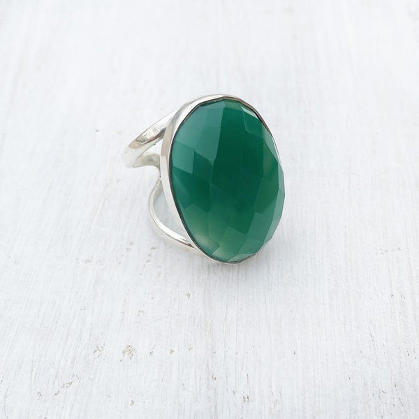 GREEN ONYX FACETTED ADJUSTABLE SILVER RING