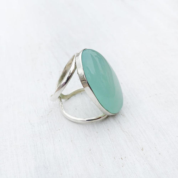 AQUA CHALCEDONY SILVER ADJUSTABLE RING