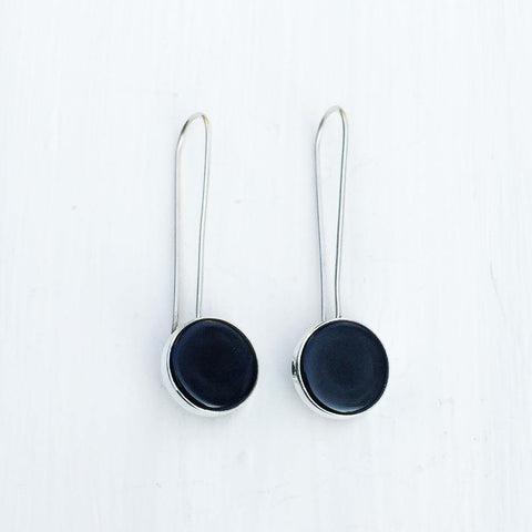 BLACK AGATE LONG HOOK  SILVER EARRINGS