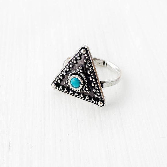 TURQUOISE TRIANGLE SILVER TOE RING