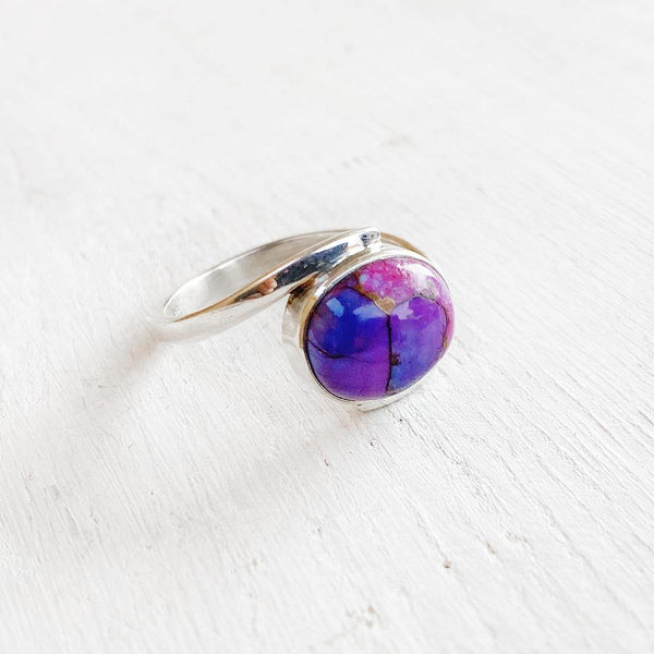PURPLE COPPER TURQUOISE SILVER RING