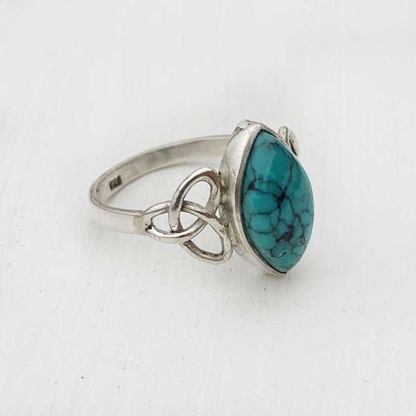 TURQUOISE TRIQUETRA SILVER RING