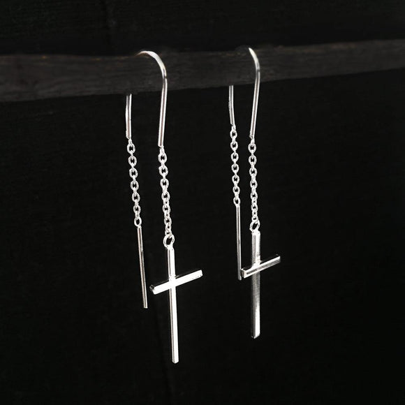 CROSS THREADER SILVER EARRING