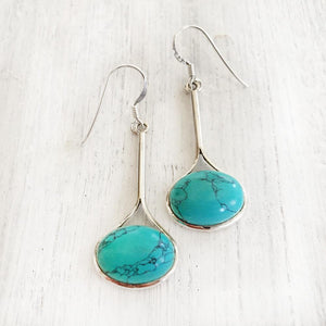 TURQUOISE SILVER DROP EARRING