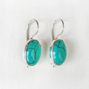 TURQUOISE SILVER FIXED HOOK EARRING