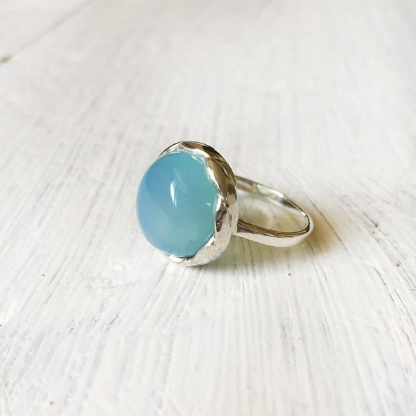 BLUE CHALCEDONY KNOTTED SILVER RING