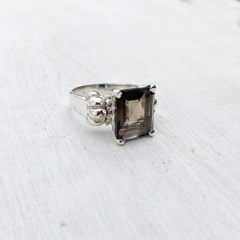 SMOKY QUARTZ EMPIRE SILVER RING