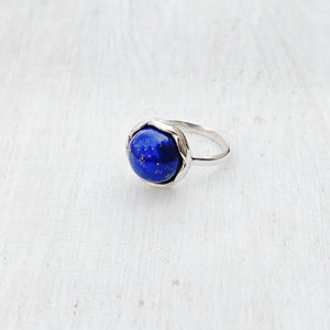 LAPIS LAZULI KNOTTED ROUND SILVER RING