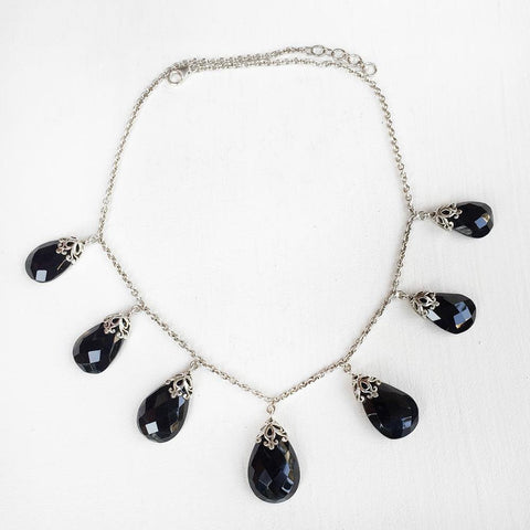 BLACK ONYX FILIGREE DROP SILVER NECKLACE