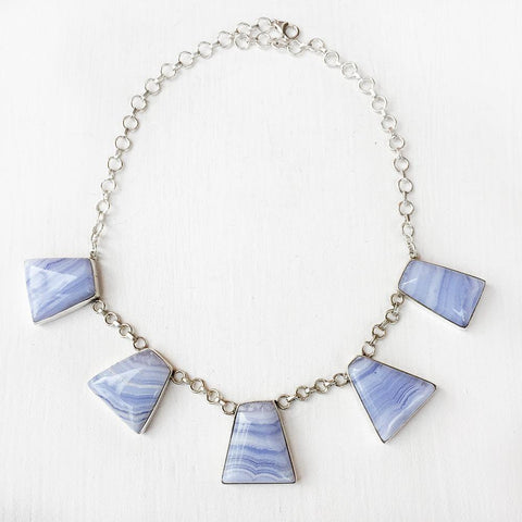 BLUE LACE AGATE SILVER NECKLACE