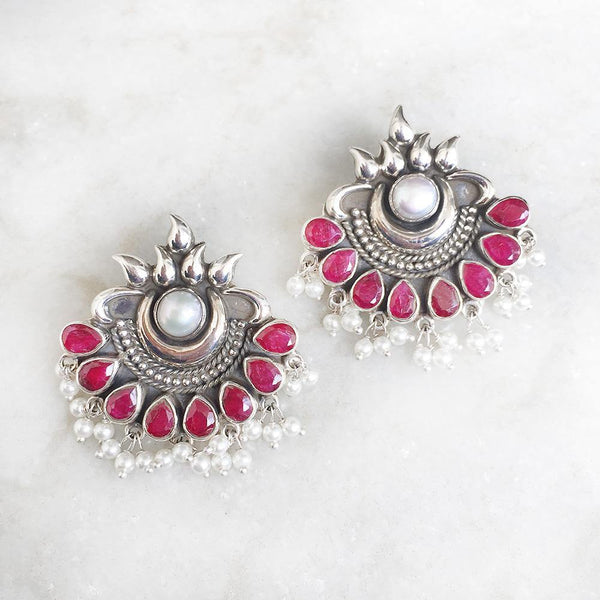 CHAND RED TRIBAL STUD EARRING - SILBERUH