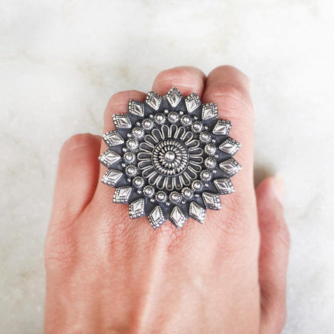 TRIBAL SILVER RING - SILBERUH