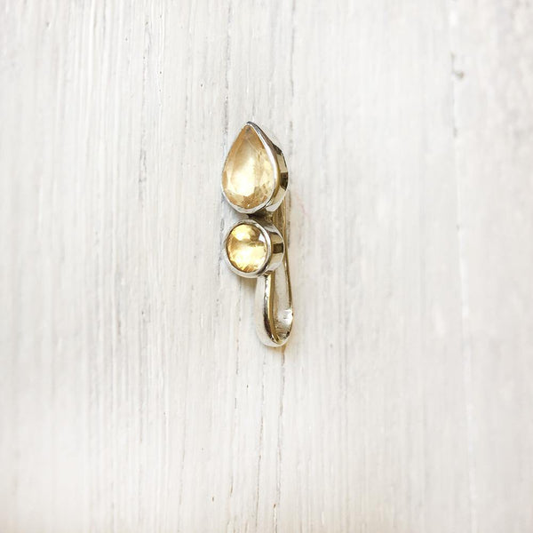 CITRINE DROP SILVER NOSE CLIP - SILBERUH