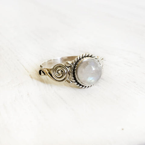 RAINBOW MOONSTONE TRIBAL SILVER RING