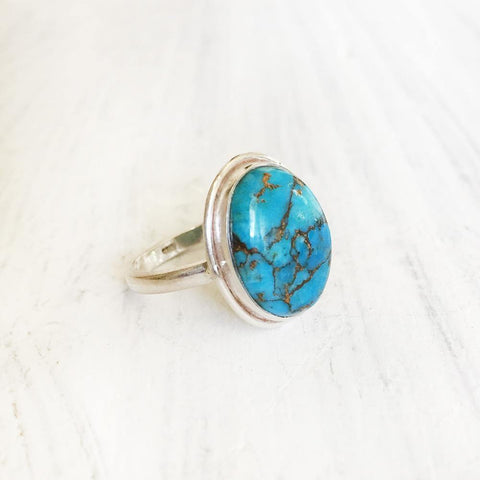 BLUE COPPER TURQUOISE SILVER RING