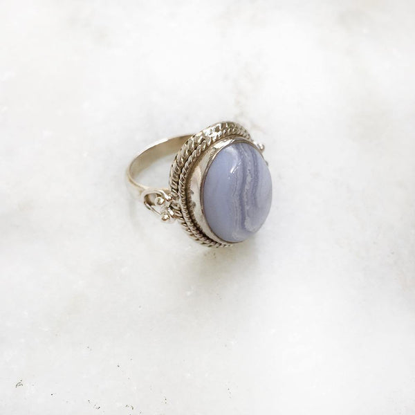 BLUE LACE AGATE KNOTTED SILVER RING - SILBERUH
