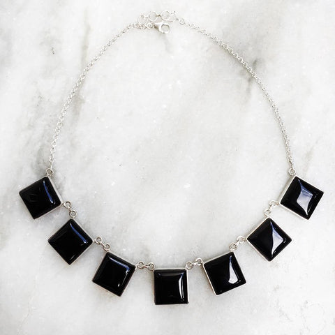 BLACK ONYX SILVER NECKLACE - SILBERUH