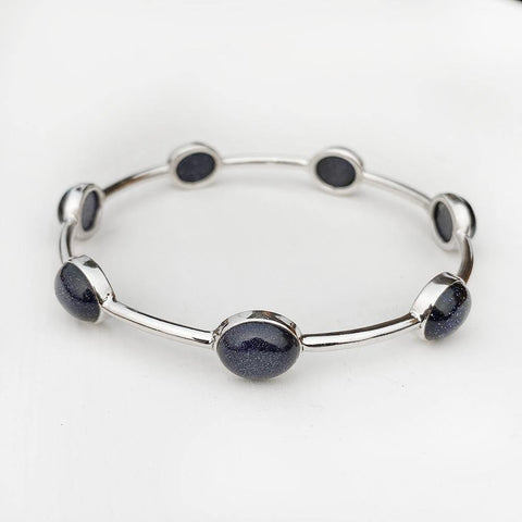 BLUE SUNSTONE SILVER BANGLE