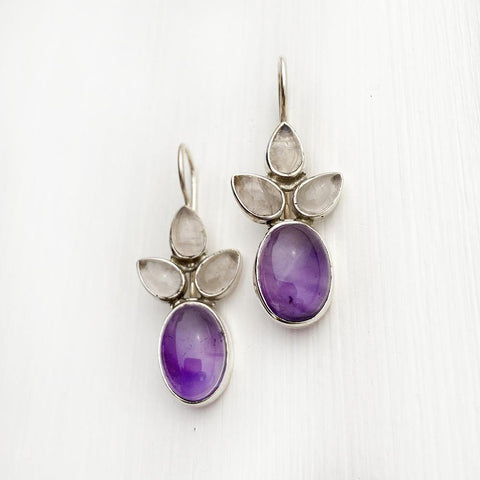 AMETHYST & ROSE QUARTZ SILVER EARRING