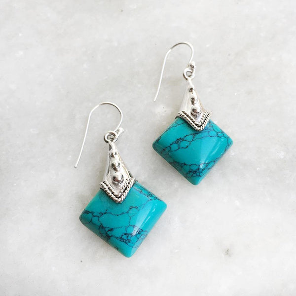 TURQUOISE TRIBAL SILVER EARRING - SILBERUH