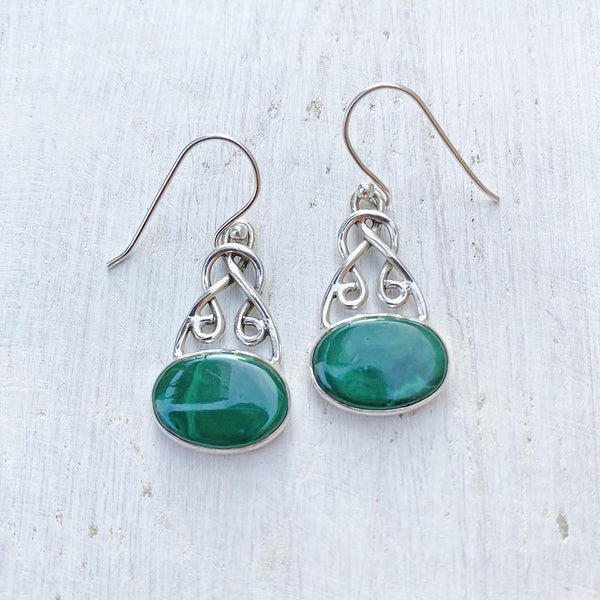MALACHITE KNOTTED SILVER EARRING
