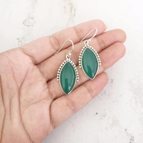 GREEN ONYX SILVER HUNTER EARRING - SILBERUH