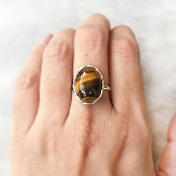 TIGERS EYE KNOTTED SILVER RING - SILBERUH