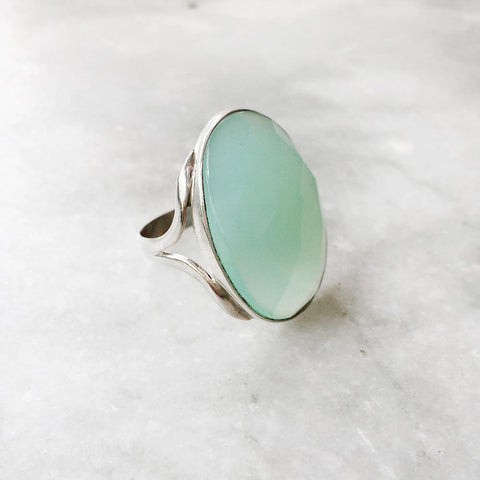 AQUA CHALCEDONY FACETTED SILVER RING - SILBERUH