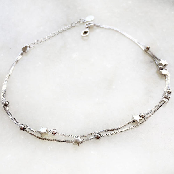 STAR BALL SILVER ANKLET - SILBERUH