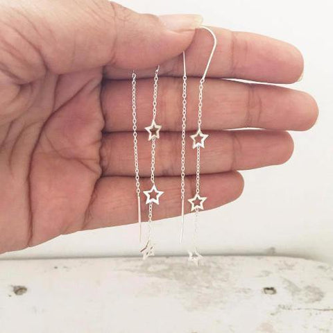 STAR SILVER LONG HOOK EARRING