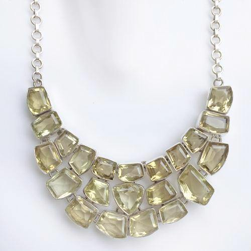 LEMON TOPAZ FACETTED SILVER NECKLACE - SILBERUH