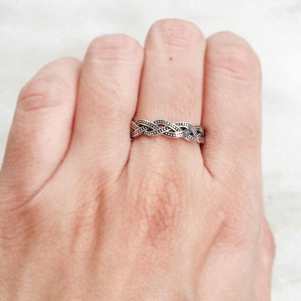 KNOTTED SILVER BAND RING - SILBERUH