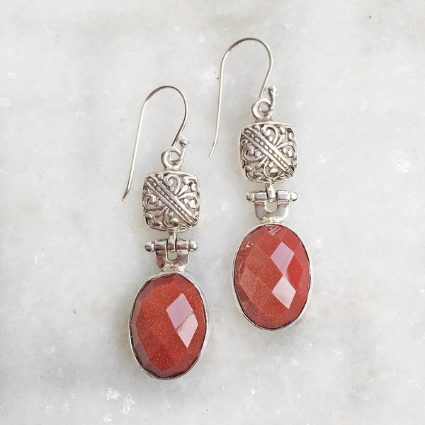 GOLDEN SUNSTONE SILVER EARRING - SILBERUH