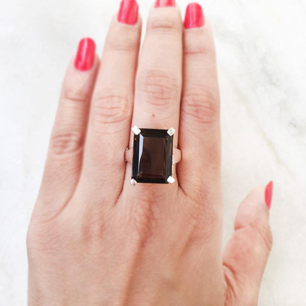 SMOKY QUARTZ SILVER RING - SILBERUH