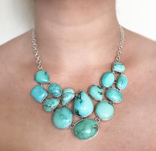 TURQUOISE NATURAL SILVER NECKLACE - SILBERUH