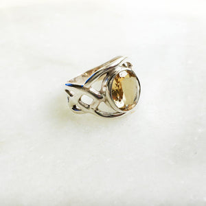 CITRINE SILVER CELTIC FACETTED RING - SILBERUH