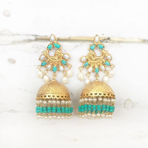 TURQUOISE & PEARL SILVER GOLD JHUMKA - SILBERUH