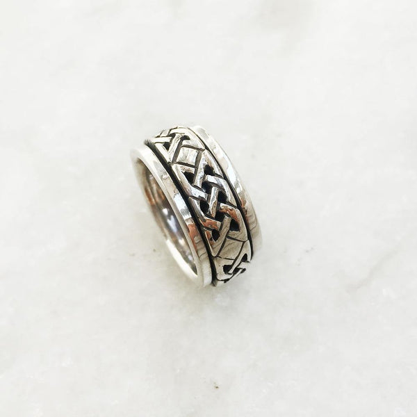 CELTIC KNOT SPINNER SILVER RING - SILBERUH