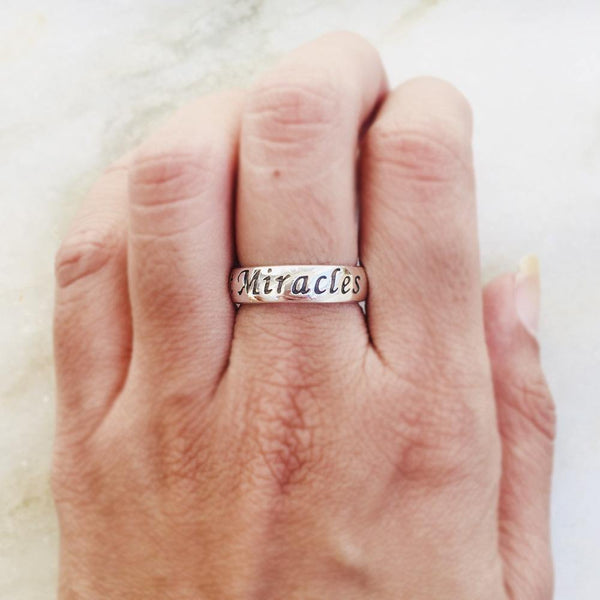 EXPECT MIRACLES SILVER BAND RING - SILBERUH
