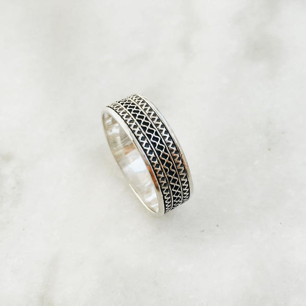 TRIBAL SILVER BAND RING - SILBERUH