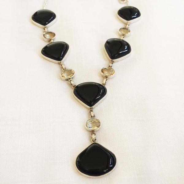 BLACK ONYX  & CITRINE SILVER NECKLACE - SILBERUH
