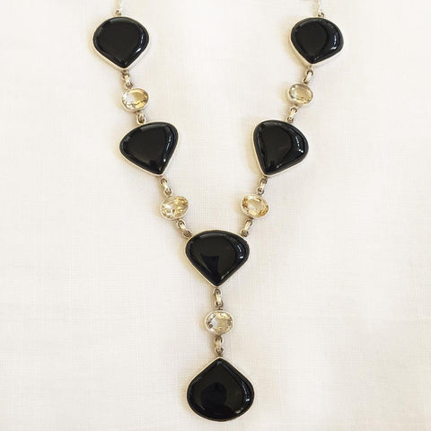 BLACK ONYX  & CITRINE SILVER NECKLACE