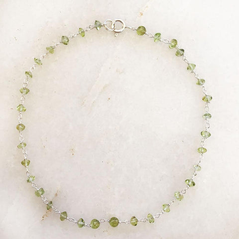 PERIDOT SILVER ANKLET