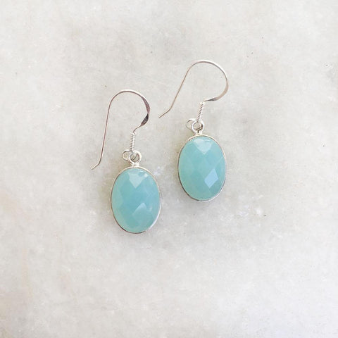 AQUA BLUE CHALCEDONY FACETTED SILVER EARRING - SILBERUH