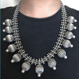 TRIBAL BALL SILVER NECKLACE