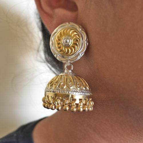 THE PHOOLWARI GOLD SILVER JHUMKA