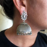 THE PEACOCK LARGE TOKRI SILVER JHUMKA - SILBERUH