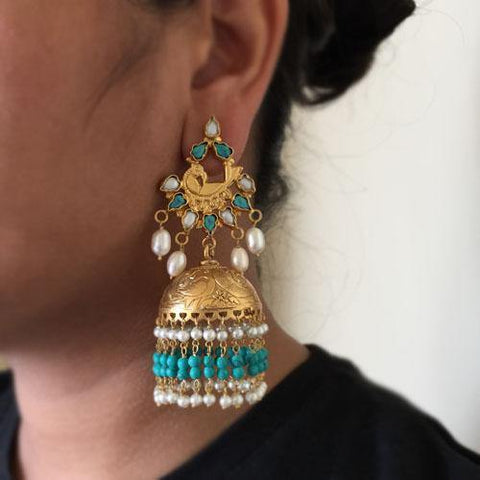 TURQUOISE & PEARL SILVER GOLD JHUMKA