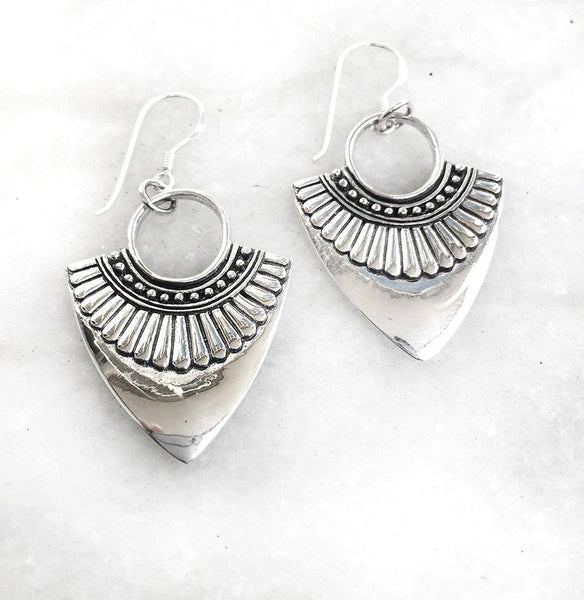 WARRIOR SILVER TRIBAL EARRING - SILBERUH