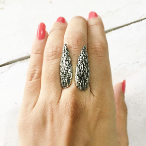 ANGEL WING SILVER ADJUSTABLE RING - SILBERUH